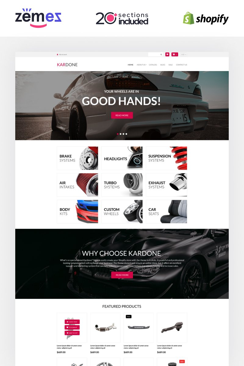 """Kardone Auto Parts Store Template"" 响应式Shopify模板 #92968"