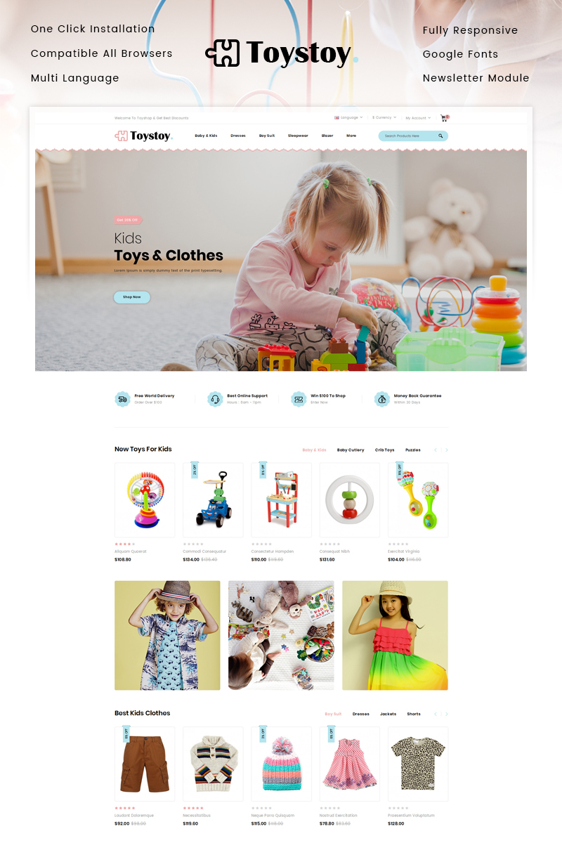 """Kids Cloth & Toy Store"" 响应式OpenCart模板 #92992 - 截图"
