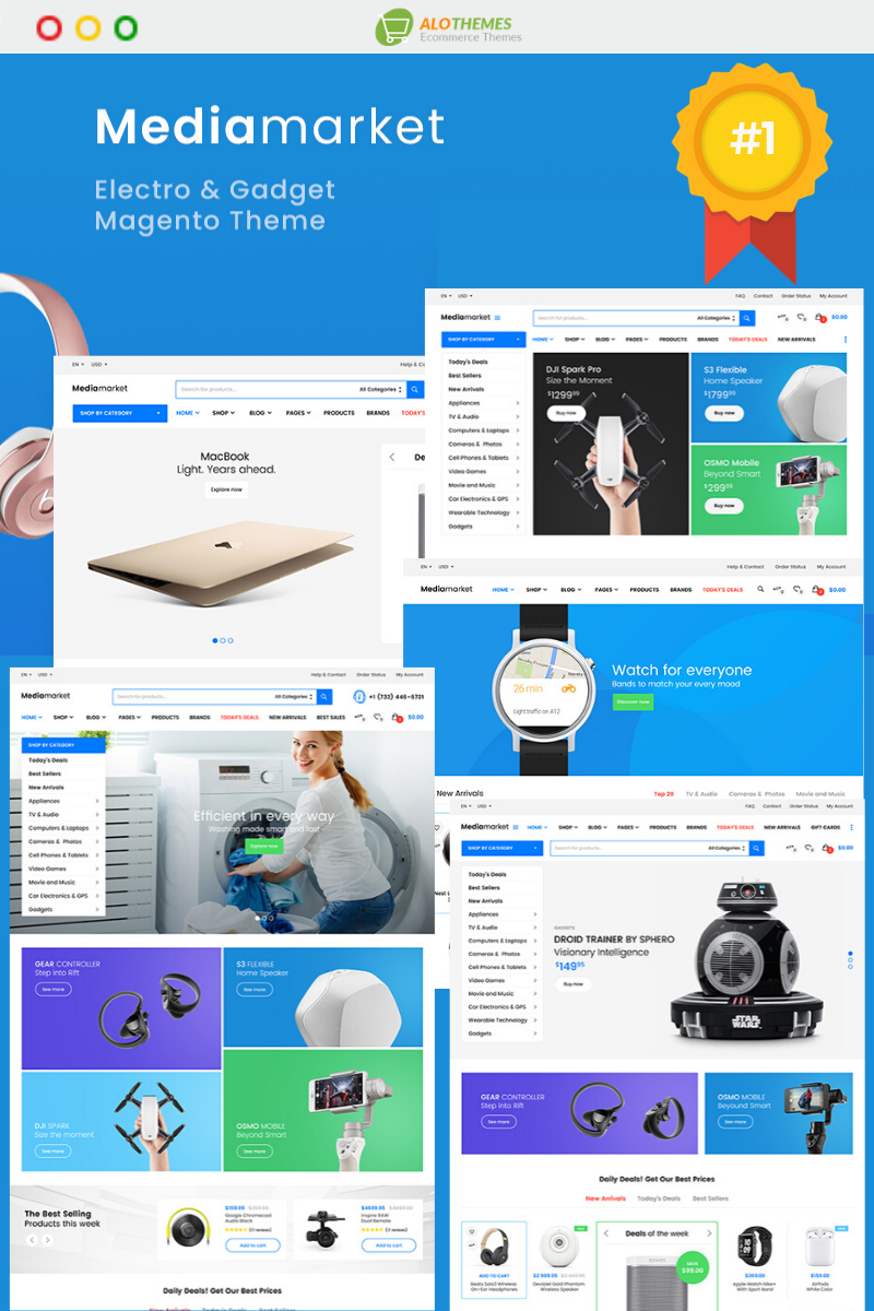 """Mediamarket - Fully Responsive and RTL supported"" thème Magento adaptatif #92912"