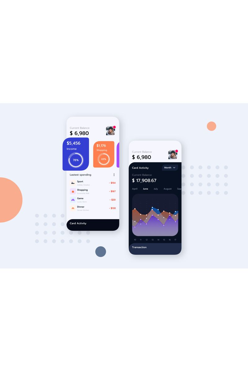 "Plantilla Sketch ""Finance Mobile UI KitG"" #92909 - captura de pantalla"
