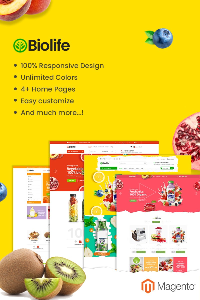 Responsive Biolife - Fully Responsive and RTL supported Magento #92927