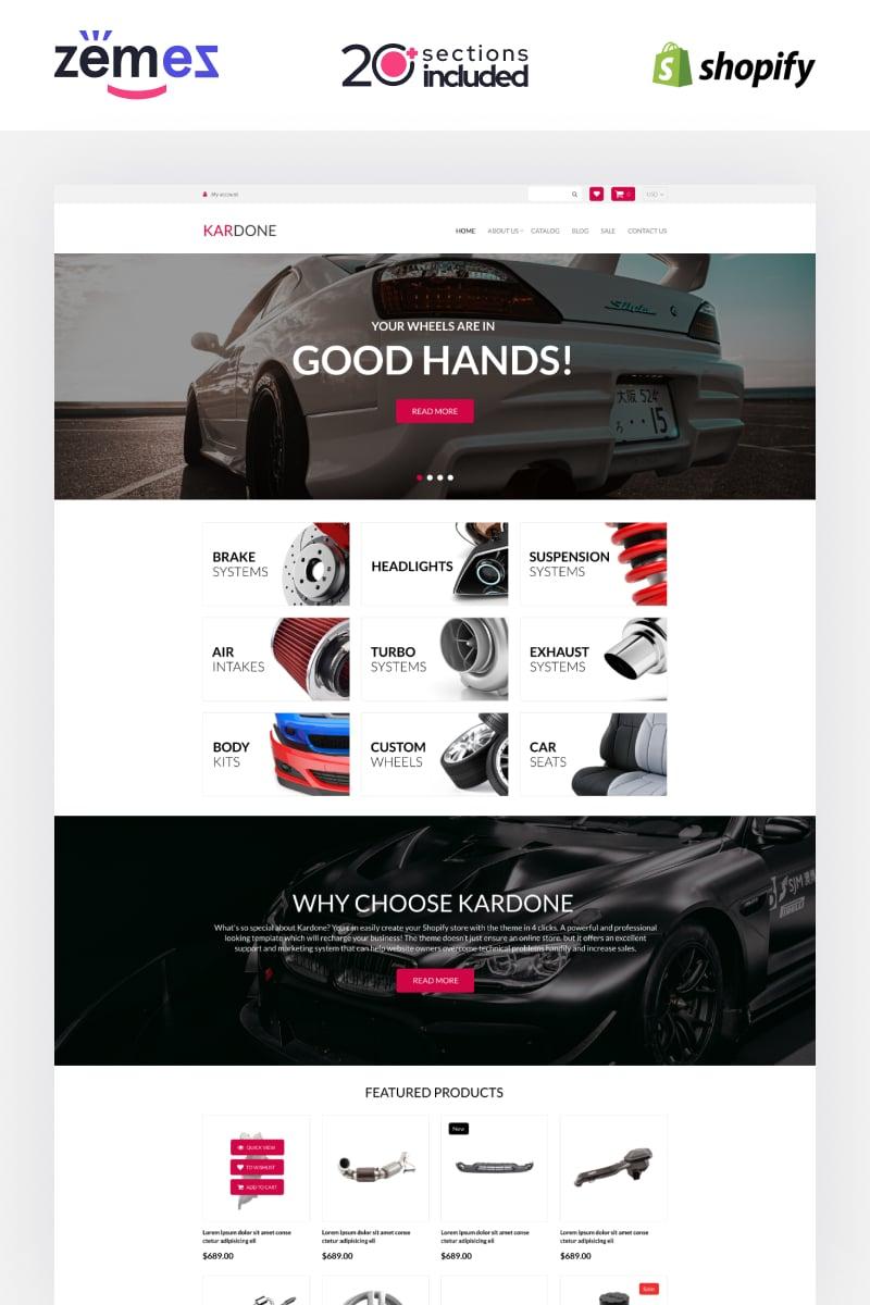 Reszponzív Kardone Auto Parts Store Template Shopify sablon 92968