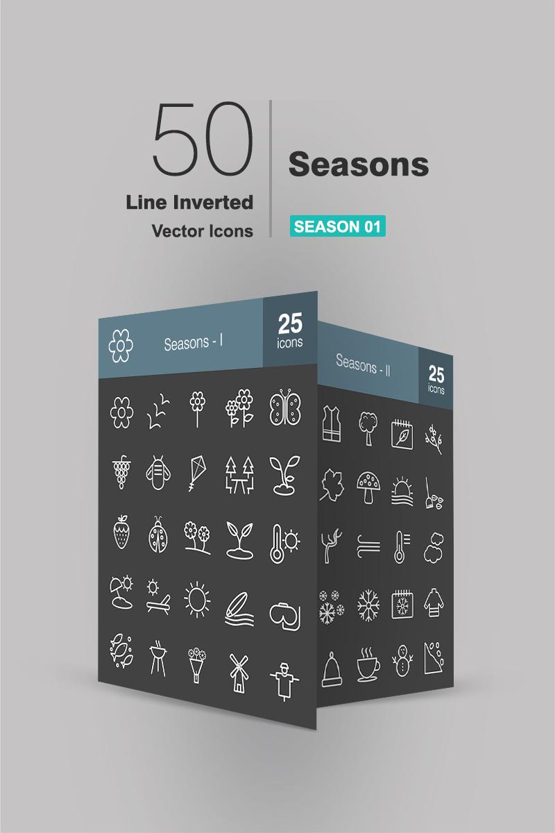 50 Seasons Line Inverted Iconset Template - screenshot
