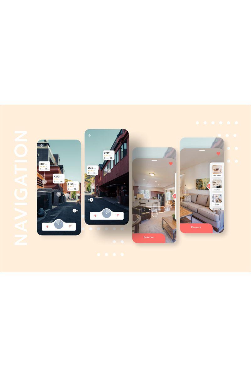 """Sketch-Vorlage namens """"House Rental with Navigation Mobile UI"""" #92975 - Screenshot"""