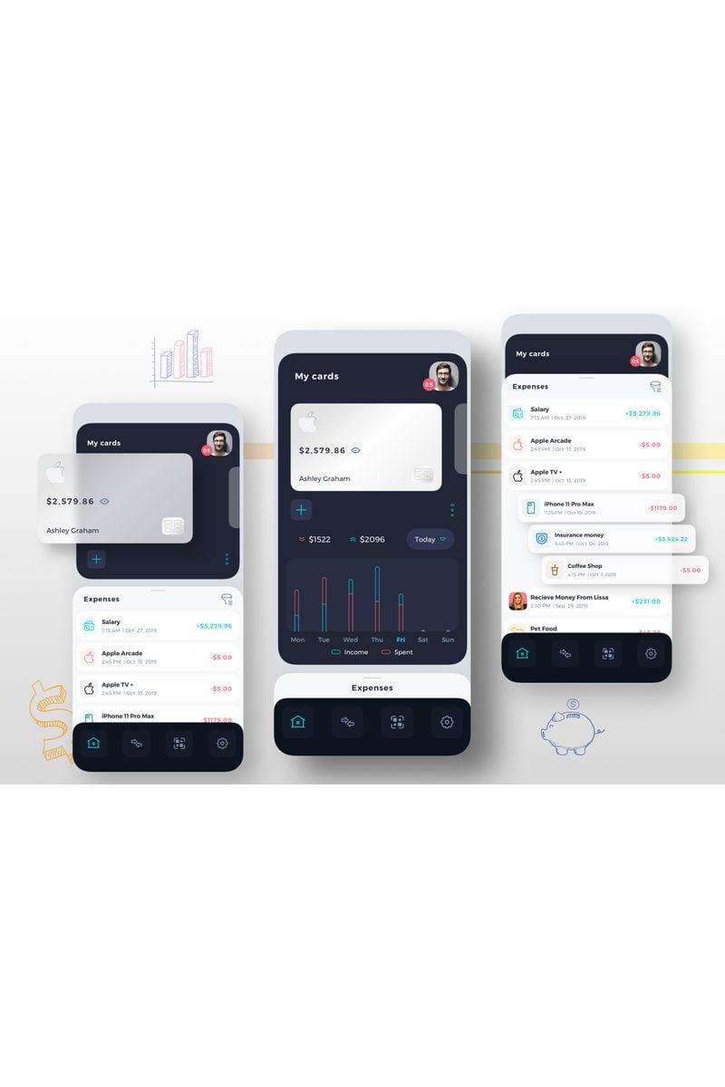 "Tema Sketch #92910 ""Finance Management Mobile UI Kit"" - screenshot"