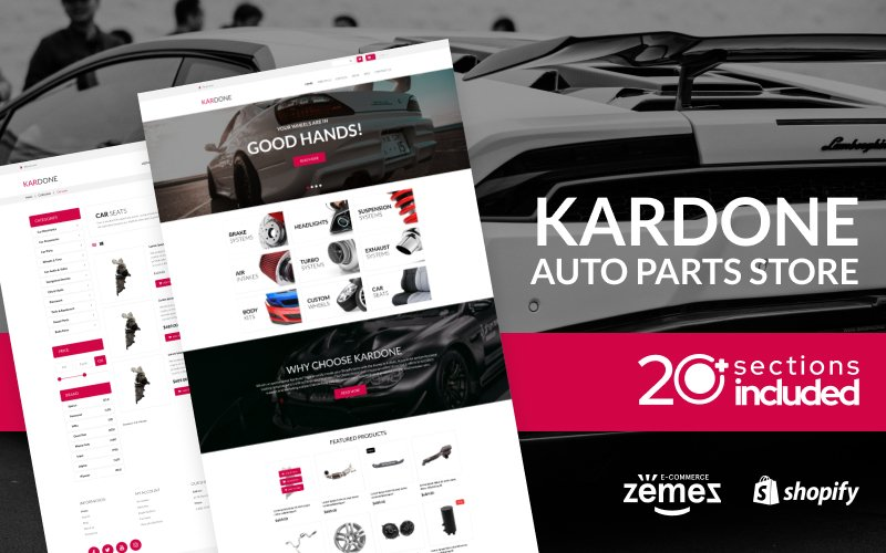 "Template Shopify Responsive #92968 ""Kardone Auto Parts Store Template"""