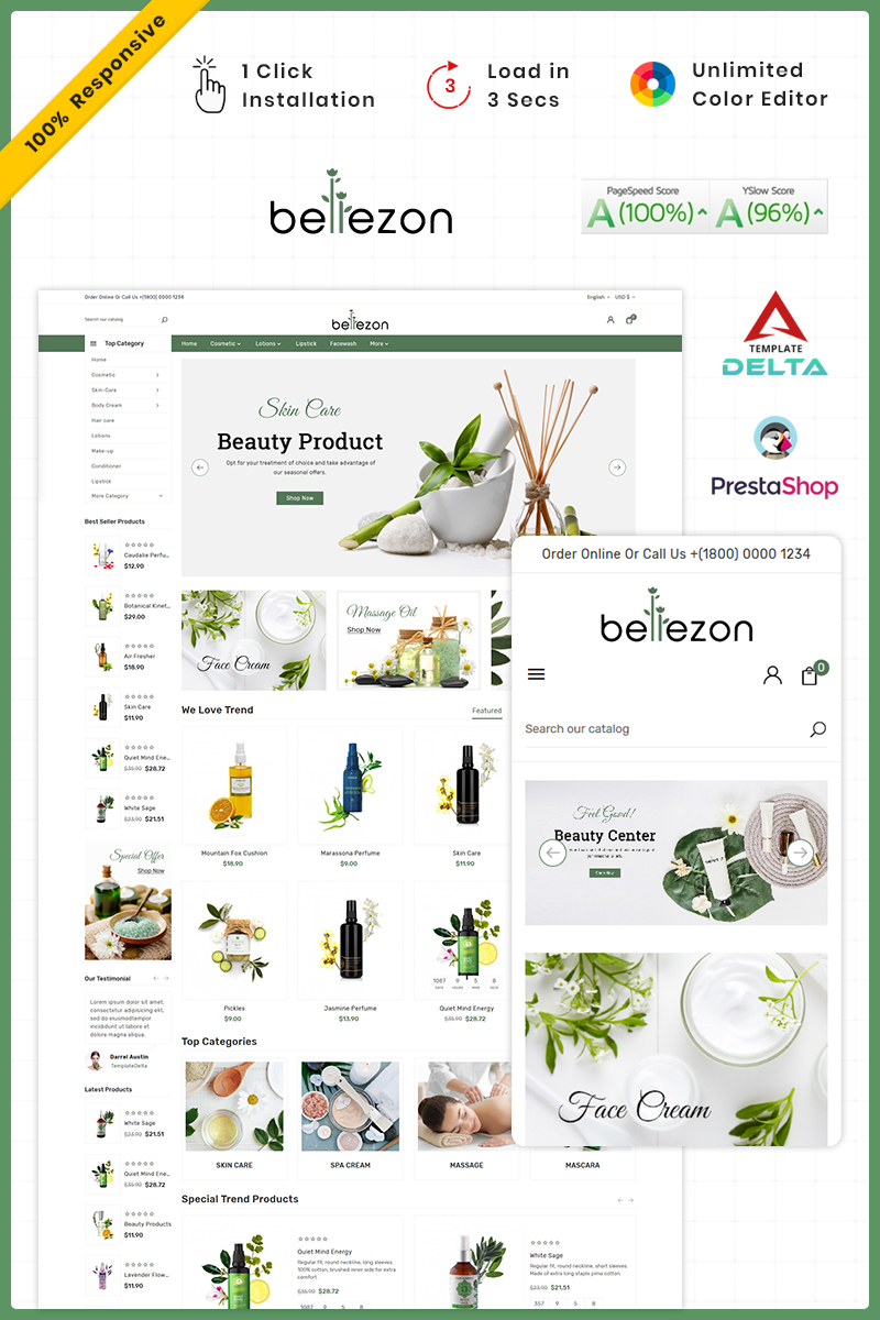 Bellezon Cosmetic - Costery Store PrestaShop Theme