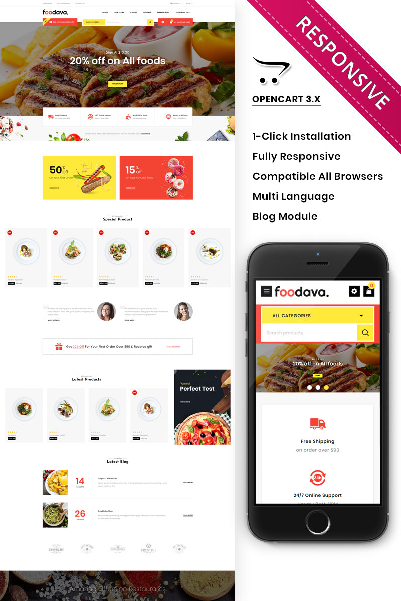 """Foodava - The food Store"" thème OpenCart adaptatif #93057"