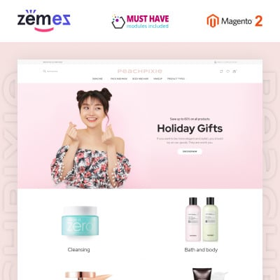 "Modello Magento Responsive #93035 ""PeachPixie - Korean Cosmetics Website Design"" #93035"