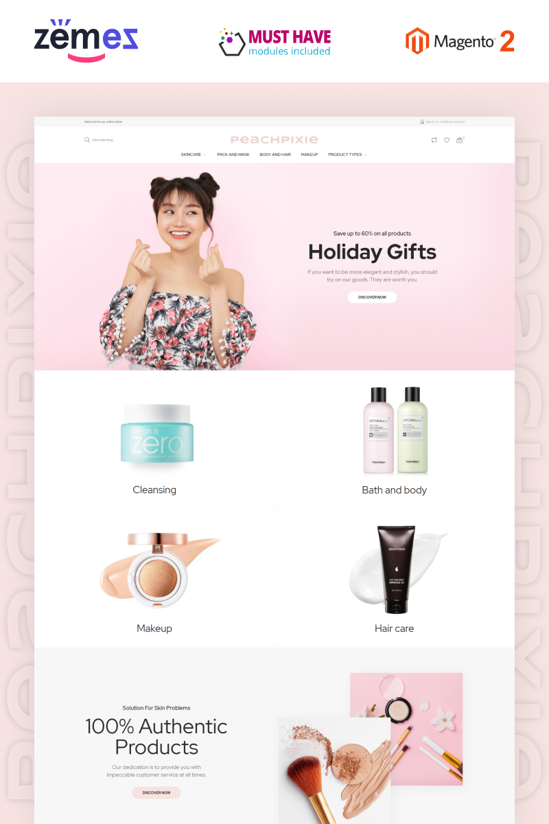 """PeachPixie - Korean Cosmetics Website Design"" thème Magento adaptatif #93035"