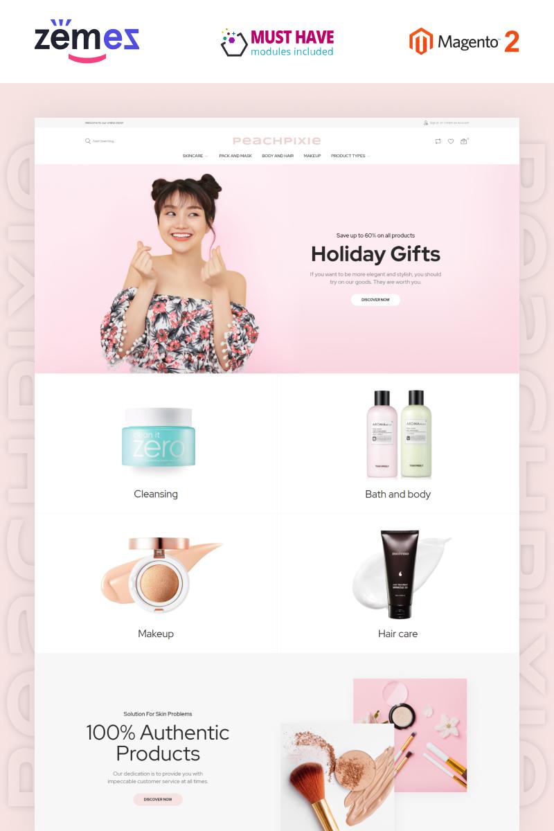 """PeachPixie - Korean Cosmetics Website Design"" 响应式Magento模板 #93035"