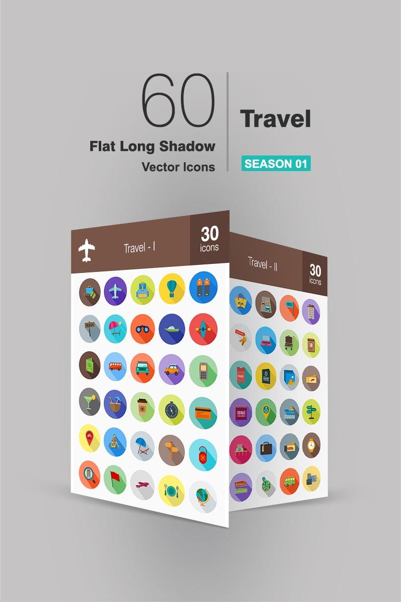 60 Travel Flat Long Shadow Iconset Template - screenshot