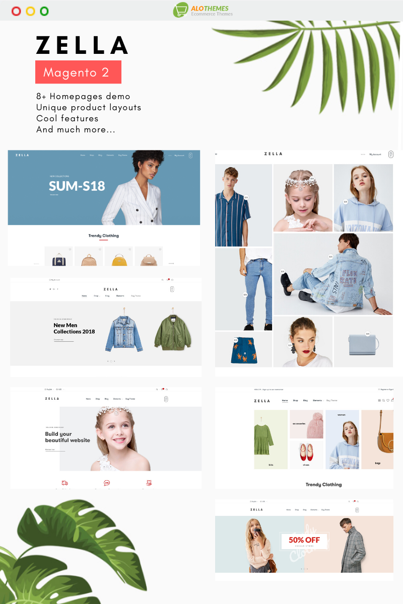 """Zella - Premium Responsive and RTL supported"" Responsive Magento Thema №93056"