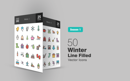 50 Winter Filled Line Icon Set