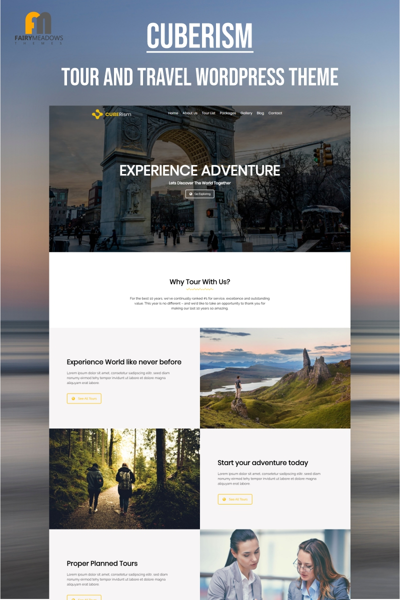 """Cuberism - Tour and Travel"" thème WordPress adaptatif #93150"