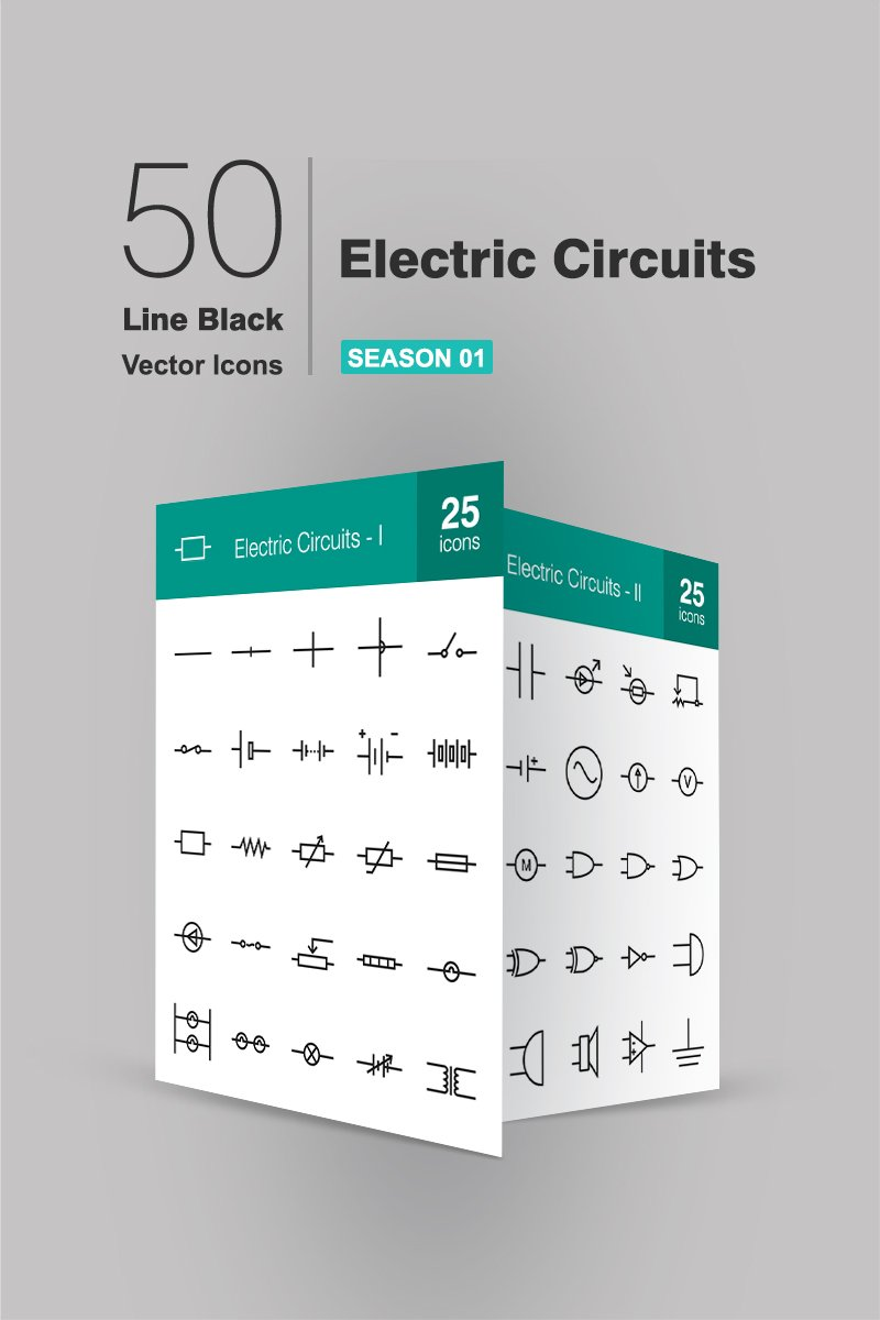 50 Electric Circuits Line Iconset Template - screenshot