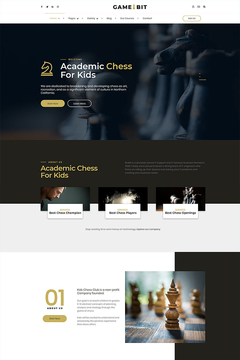 """Gamebit - chess club and board games"" - адаптивний WordPress шаблон №93145"