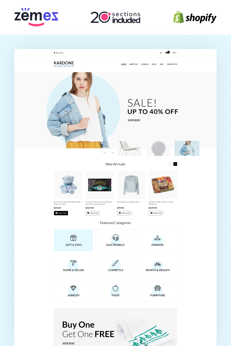 """""""Kardone Wholesale Store Template Clean"""" Responsive Shopify Thema №93151"""