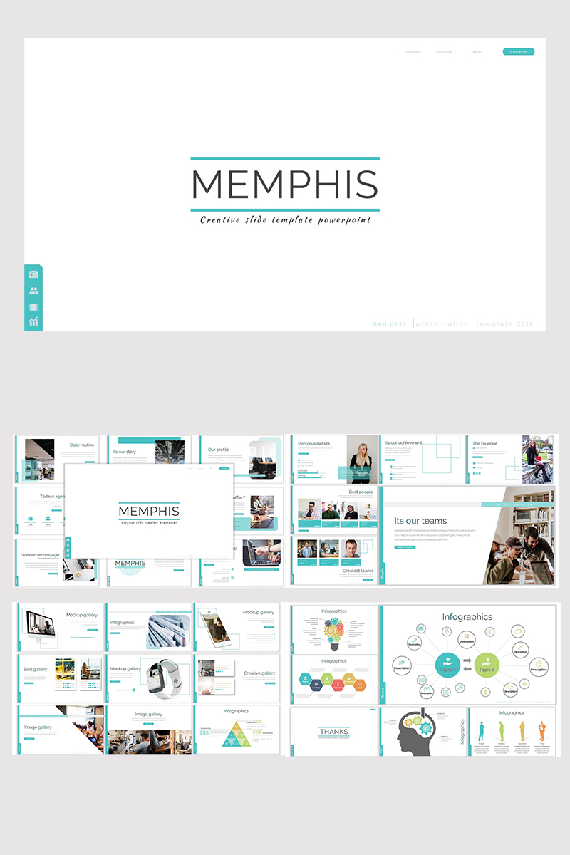 """Memphis"" 响应式Keynote模板 #93159"