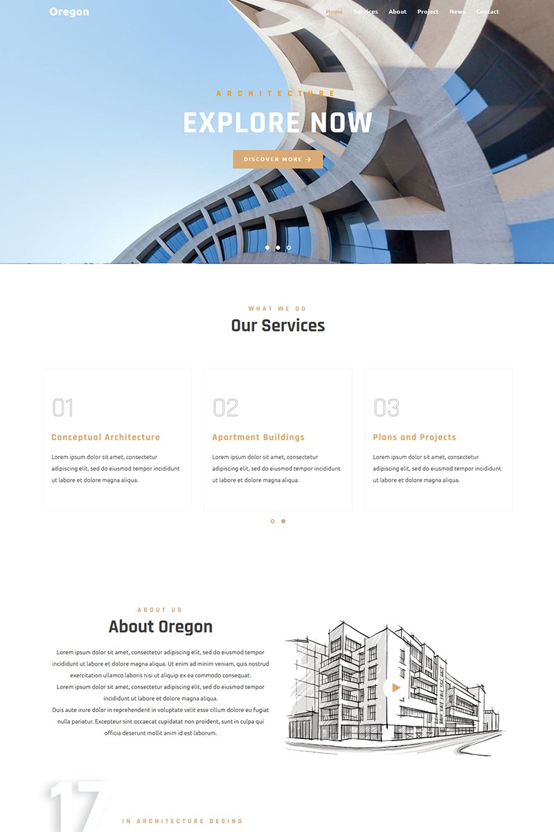 Oregon - Architecture Landing Page Template - screenshot