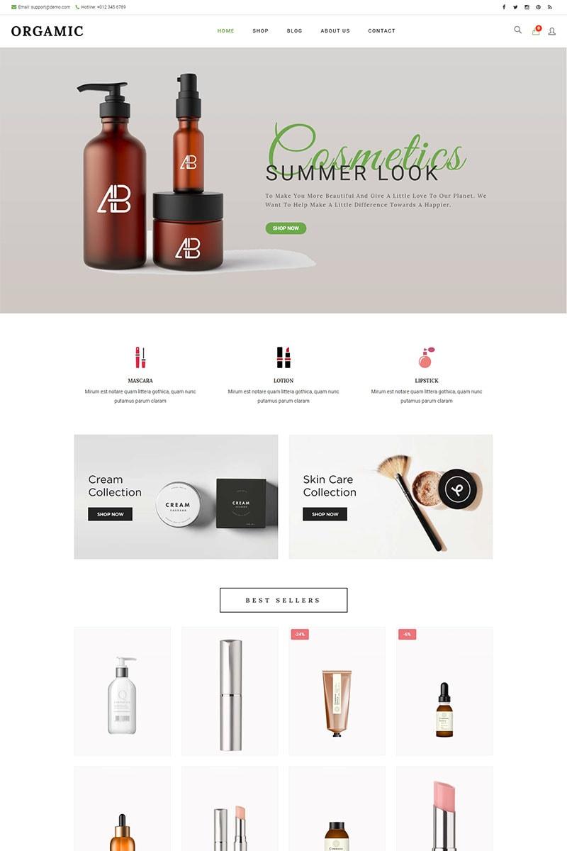"""Orgamic -  Organic Beauty Store & Natural Cosmetics"" - адаптивний WooCommerce шаблон №93146"