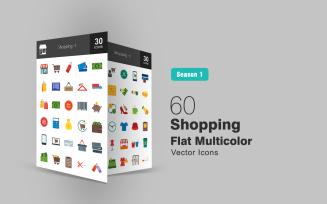 60 Shopping Flat Multicolor Icon Set