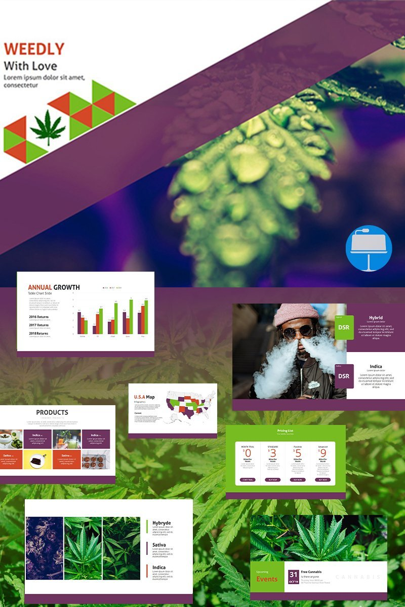 """Weedly Medical Cannabis"" modèle Keynote Premium #93187 - screenshot"