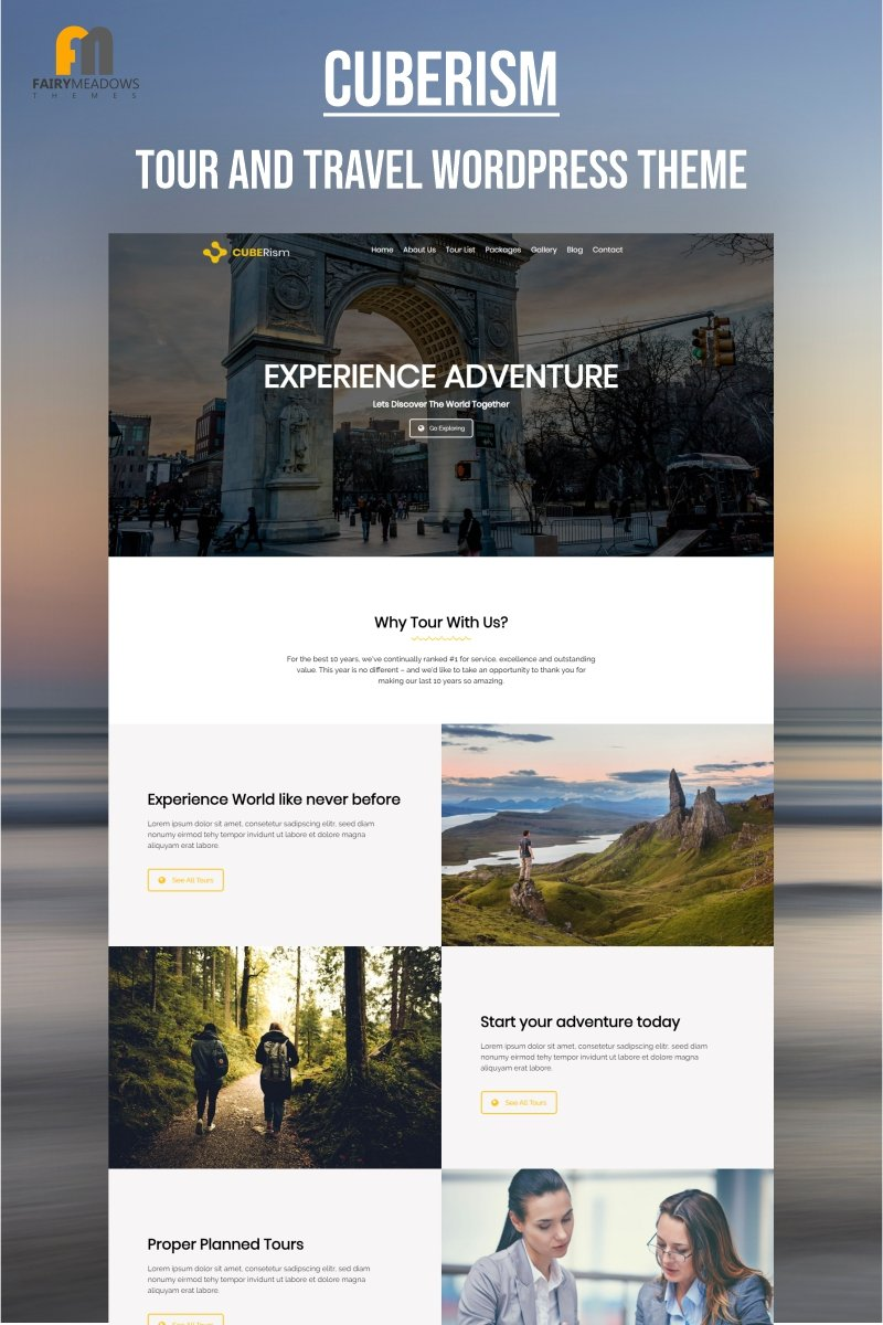 "WordPress Theme namens ""Cuberism - Tour and Travel"" #93150"