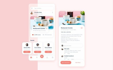 Restaurant food review application UI Sketch Template