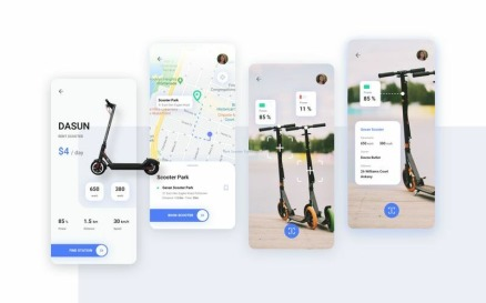 Rent Scooter Travel UI Kit Sketch Template