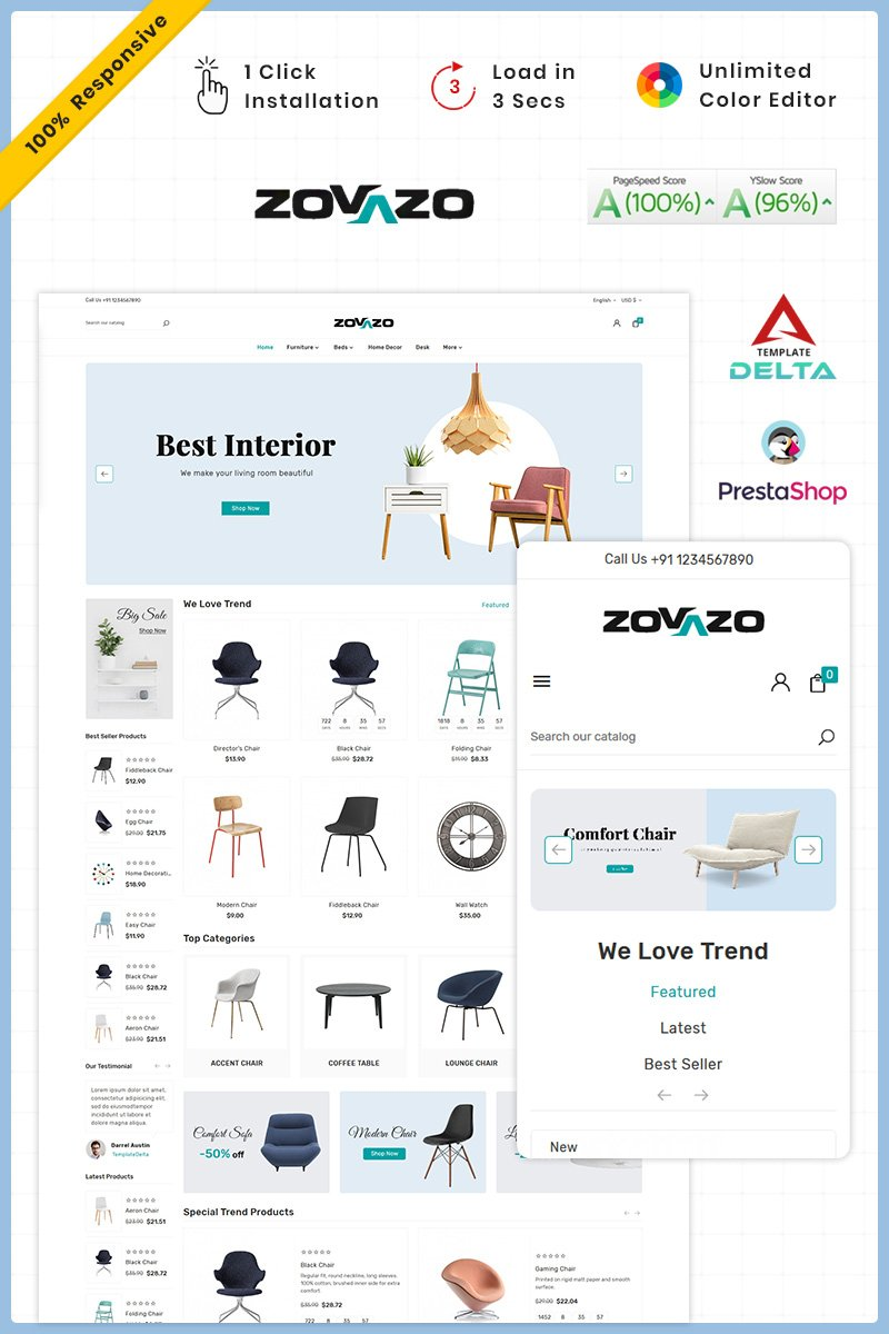 Tema para prestashop - Categoría: Arquitectura - versión para Desktop