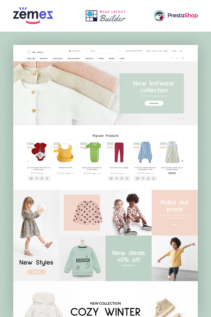 """Bon Bebe - Kids Shop Design Template"" thème PrestaShop adaptatif #93202"