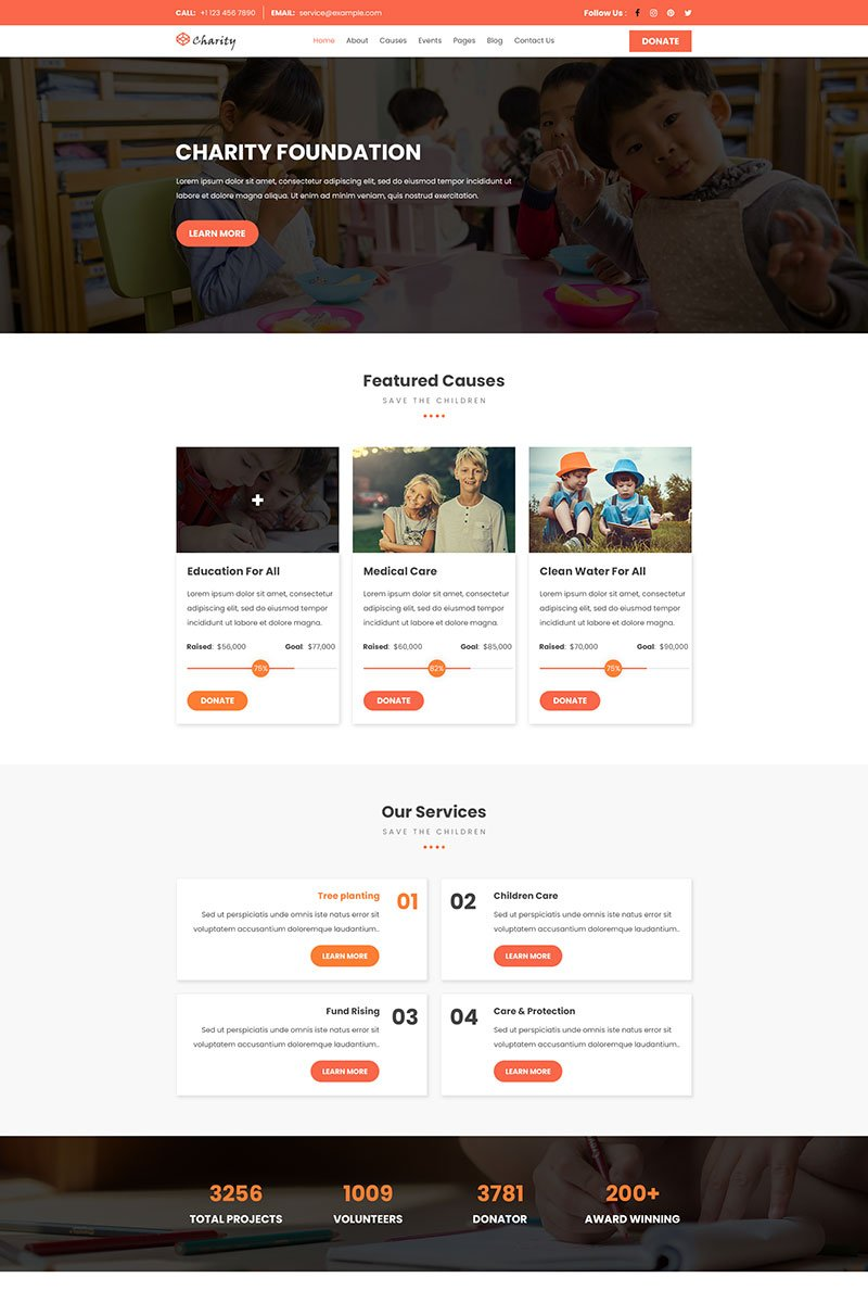 Bootstrap szablon PSD Charity Foundation | Charity #93226