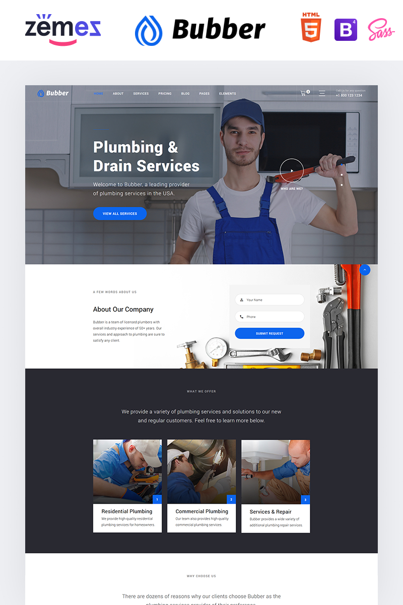 """Bubber - Plumbing Company"" - адаптивний Шаблон сайту №93240 - скріншот"