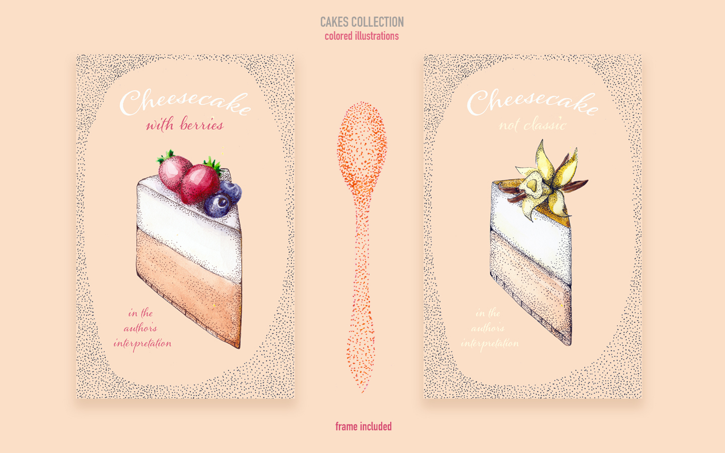 Colored cakes collection Illustration - screenshot