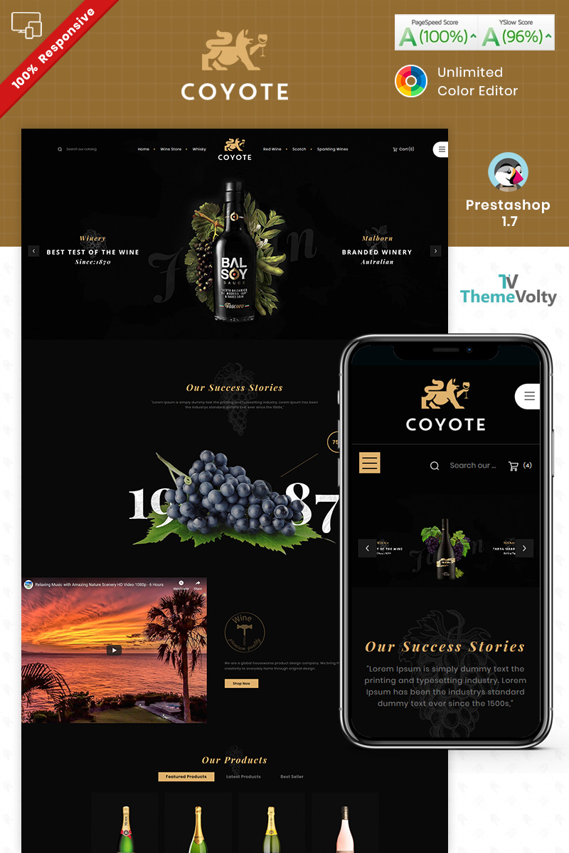 """Covote Wine Alcohol Store"" - адаптивний PrestaShop шаблон №93250"