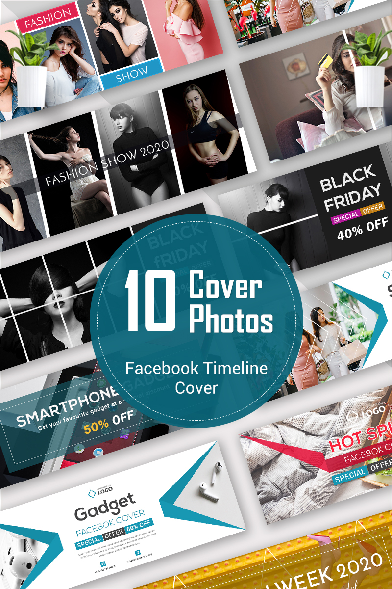 """10 Facebook Timeline Cover Bundle"" 奖金社交媒体 #93246 - 截图"