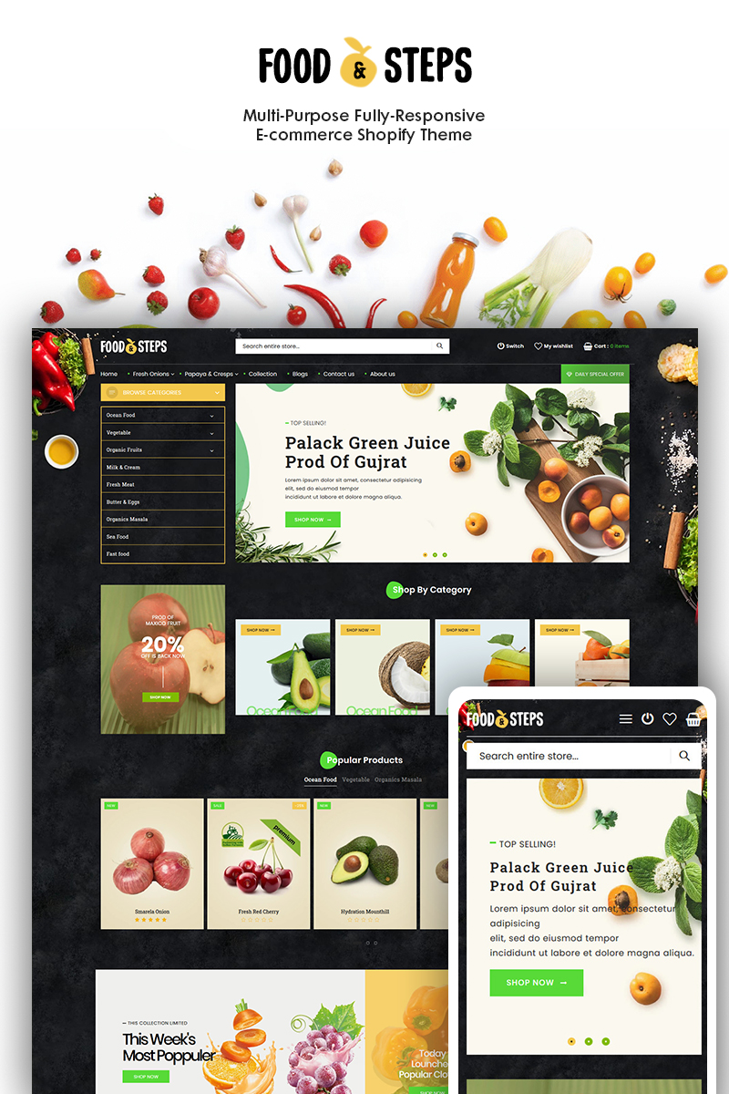 """Food Steps - The Organic & Food Responsive"" 响应式Shopify模板 #93284"