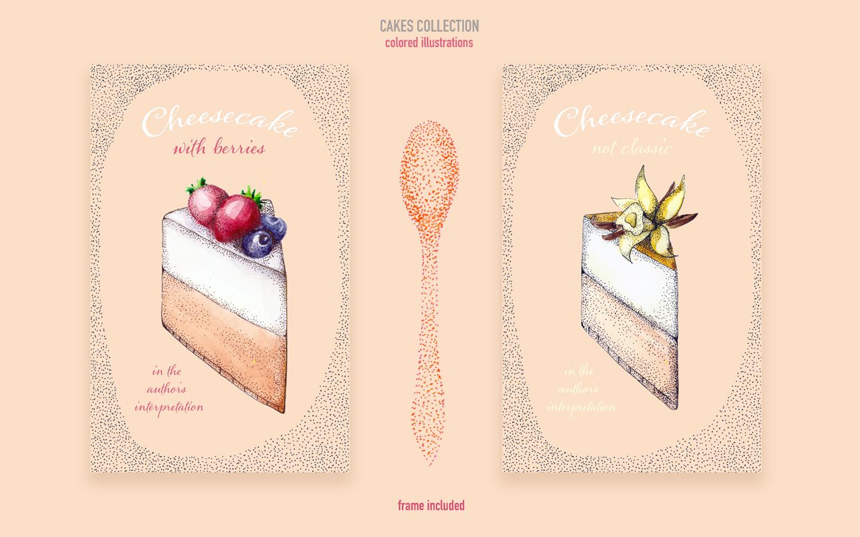 "Ilustración ""Colored cakes collection"" #93249"