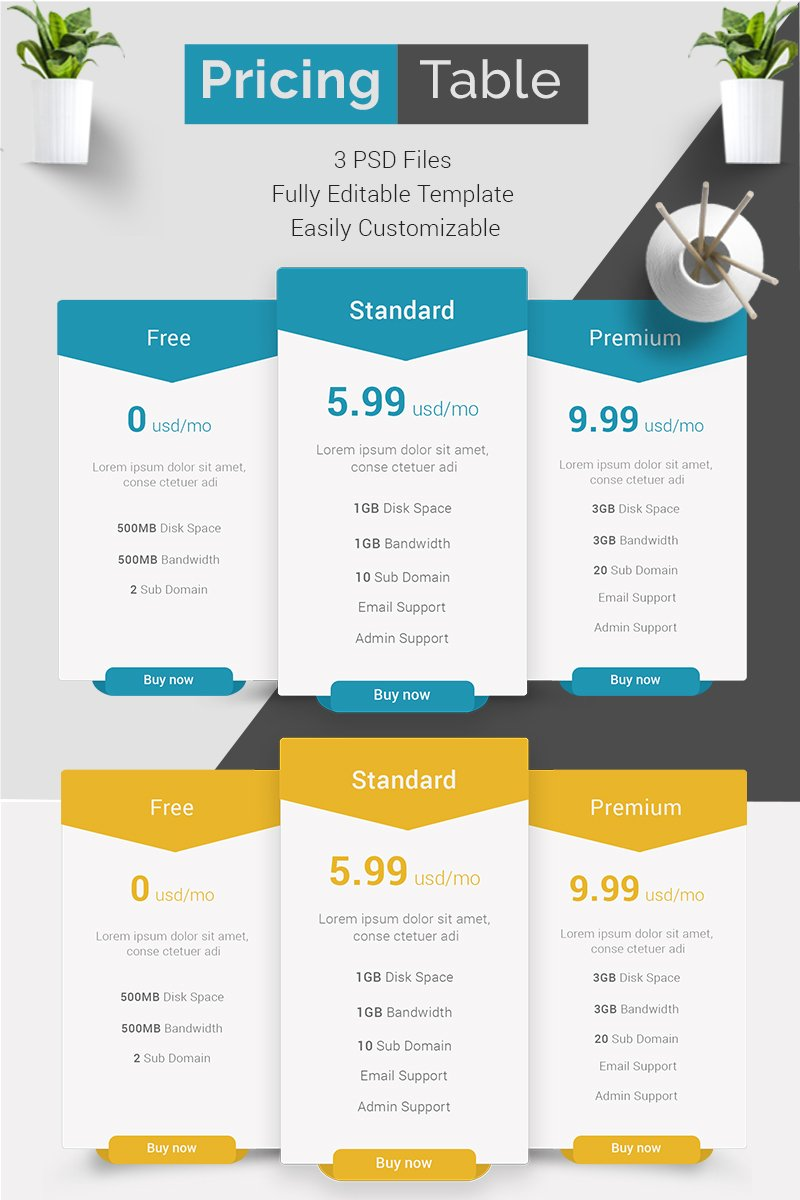 Minimal Pricing Table PSD Template