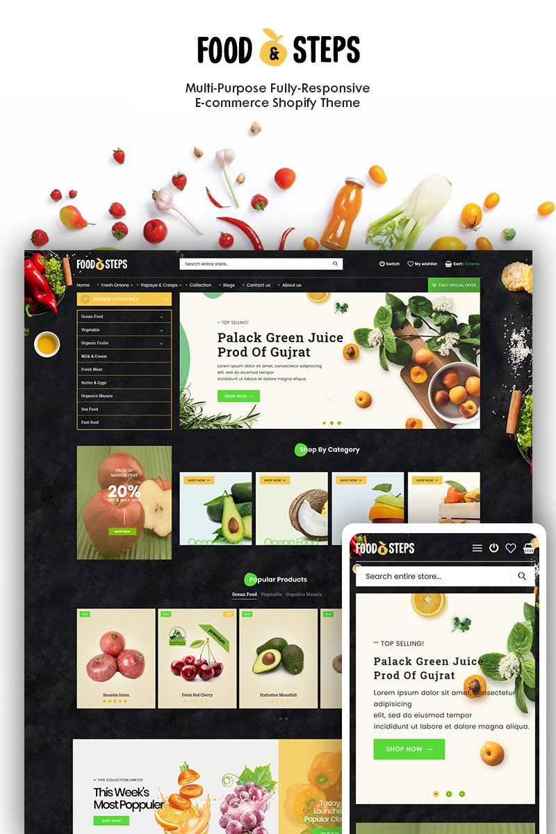 "Modello Shopify Responsive #93284 ""Food Steps - The Organic & Food Responsive"""