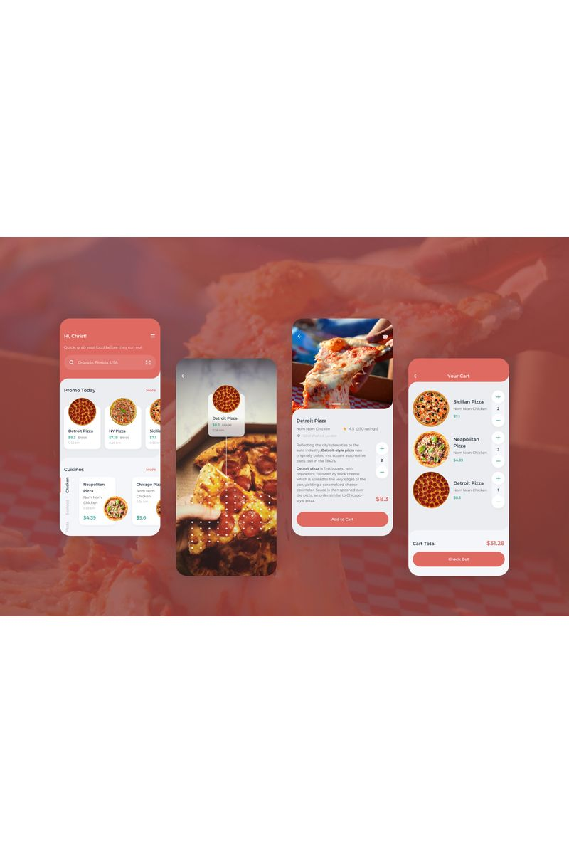 Order Food Mobile UI Sketch Template - screenshot