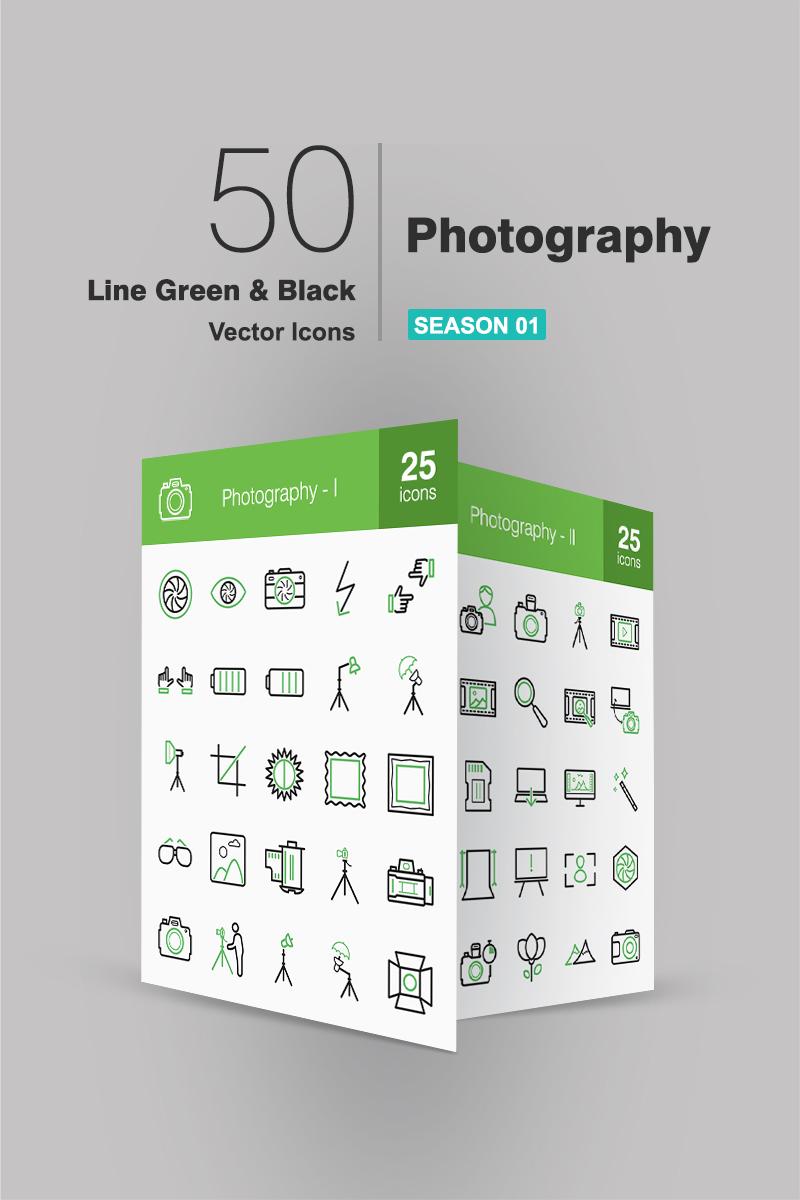 50 Photography Line Green & Black Iconset Template - screenshot