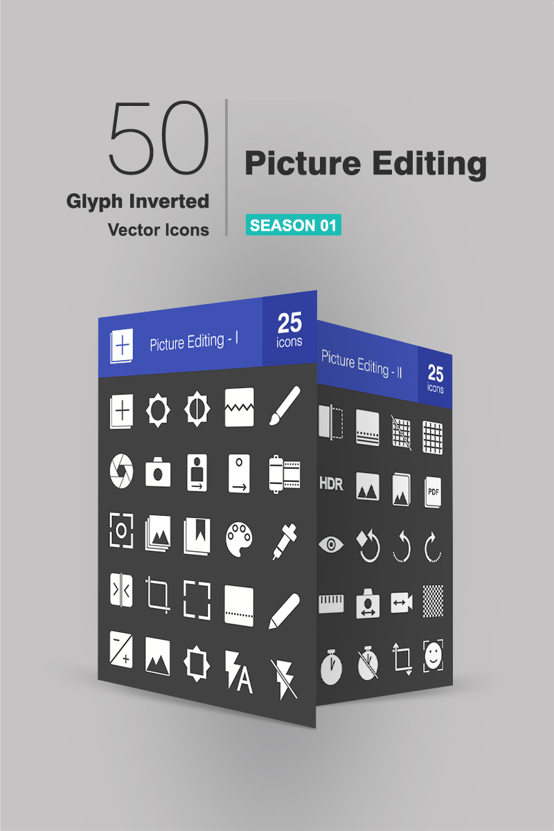 50 Picture Editing Glyph Inverted Iconset Template - screenshot