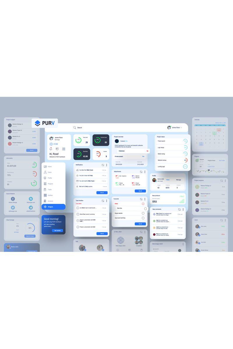 """Plantilla Sketch """"Purpose Widgets Dashboard UI V2"""" #93254"""