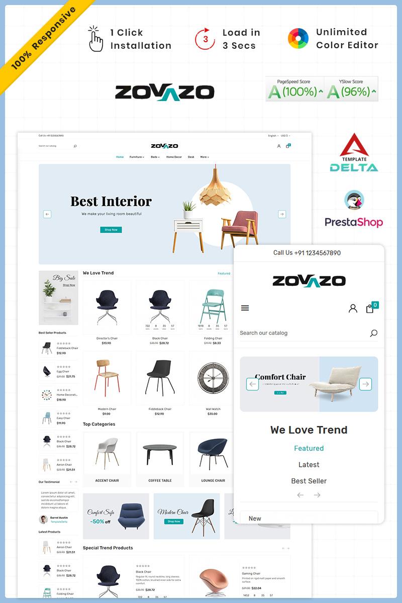 """PrestaShop Theme namens """"Zovazo Furniture Wood Mega Store"""" #93286"""