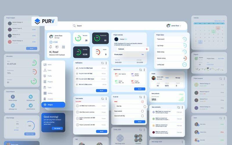 Purpose Widgets Dashboard UI V2 Template de Ilustração №93254