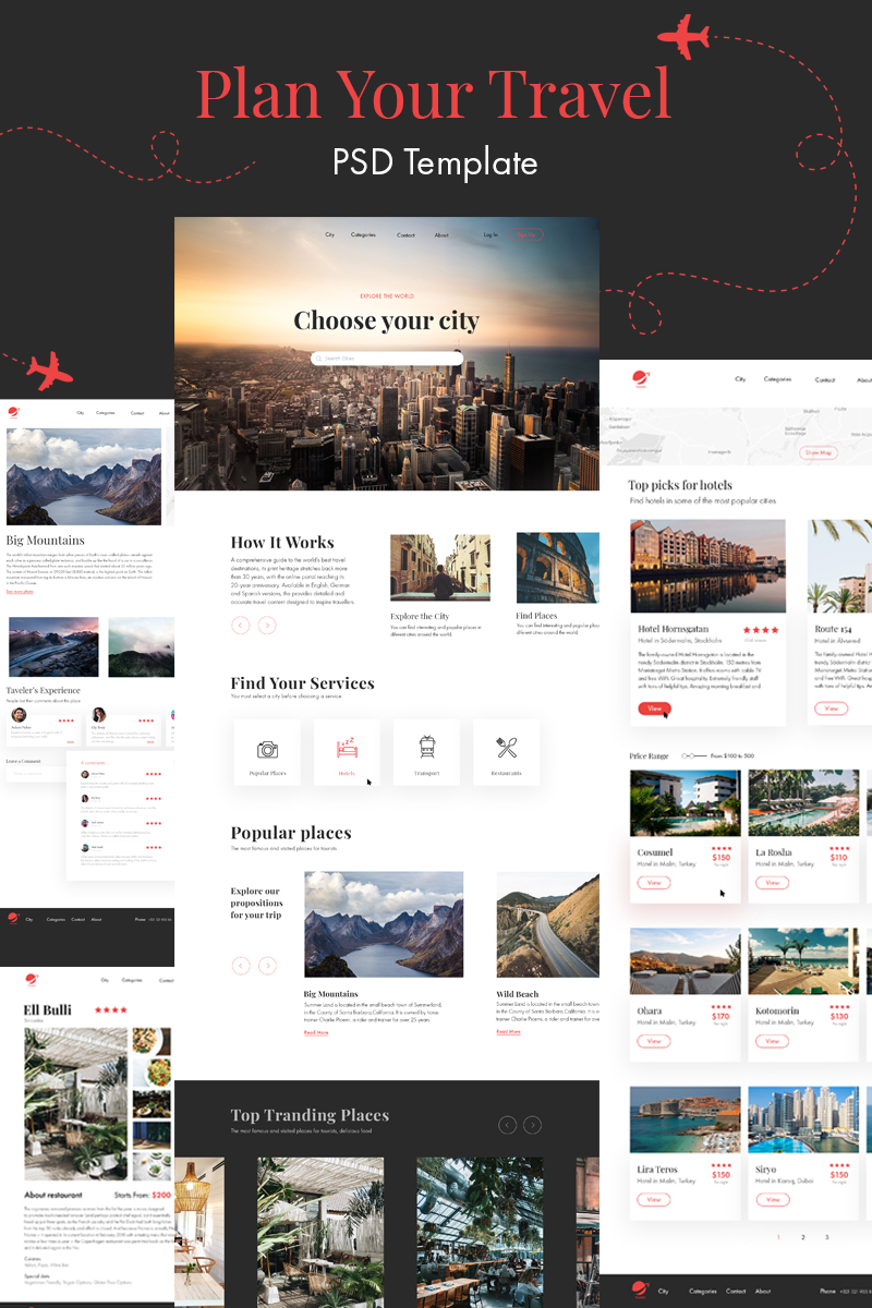 Responsive Traveler | The amazing Travel and Tours Psd #93224