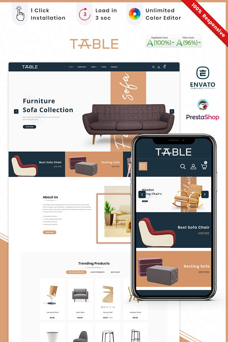 "Responzivní PrestaShop motiv ""Furniture Table Mega Store"" #93223"