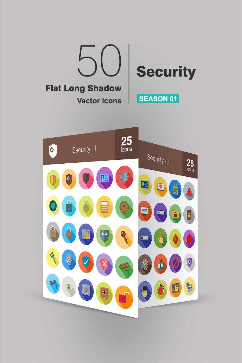 50 Security Flat Long Shadow Iconset Template - screenshot